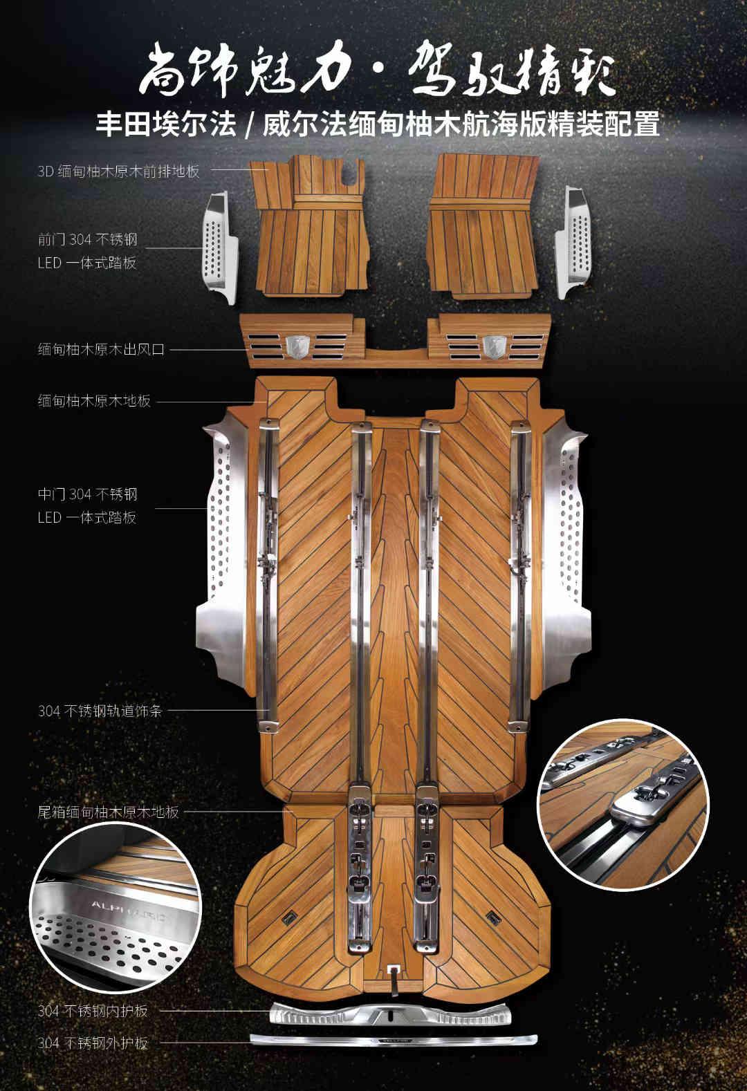 丰田埃尔法改装木地板